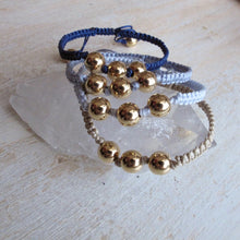 Load image into Gallery viewer, shine on gold plated macrame bracelet (navy)