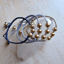 Load image into Gallery viewer, shine on gold plated macrame bracelet (middle gray)