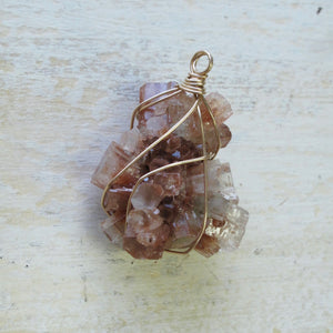 gold wrapped aragonite star cluster necklace