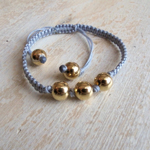shine on gold plated macrame bracelet (middle gray)