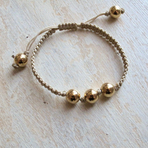 shine on gold plated macrame bracelet (tan)