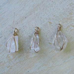 gold wrapped moonstone pyramid necklace