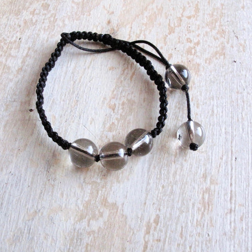 protection smoky quartz macrame bracelet