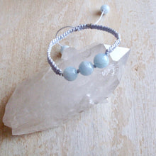Load image into Gallery viewer, rest aquamarine macrame bracelet