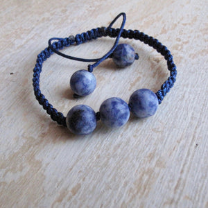 communication sodalite macrame bracelet