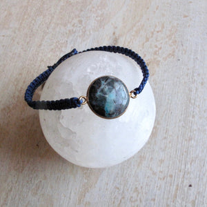 power of water chrysocolla macrame bracelet