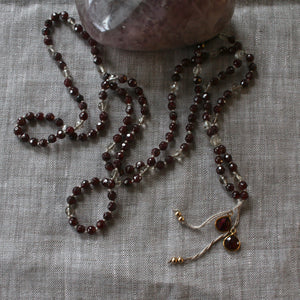 deep romance halo garnet layering necklace
