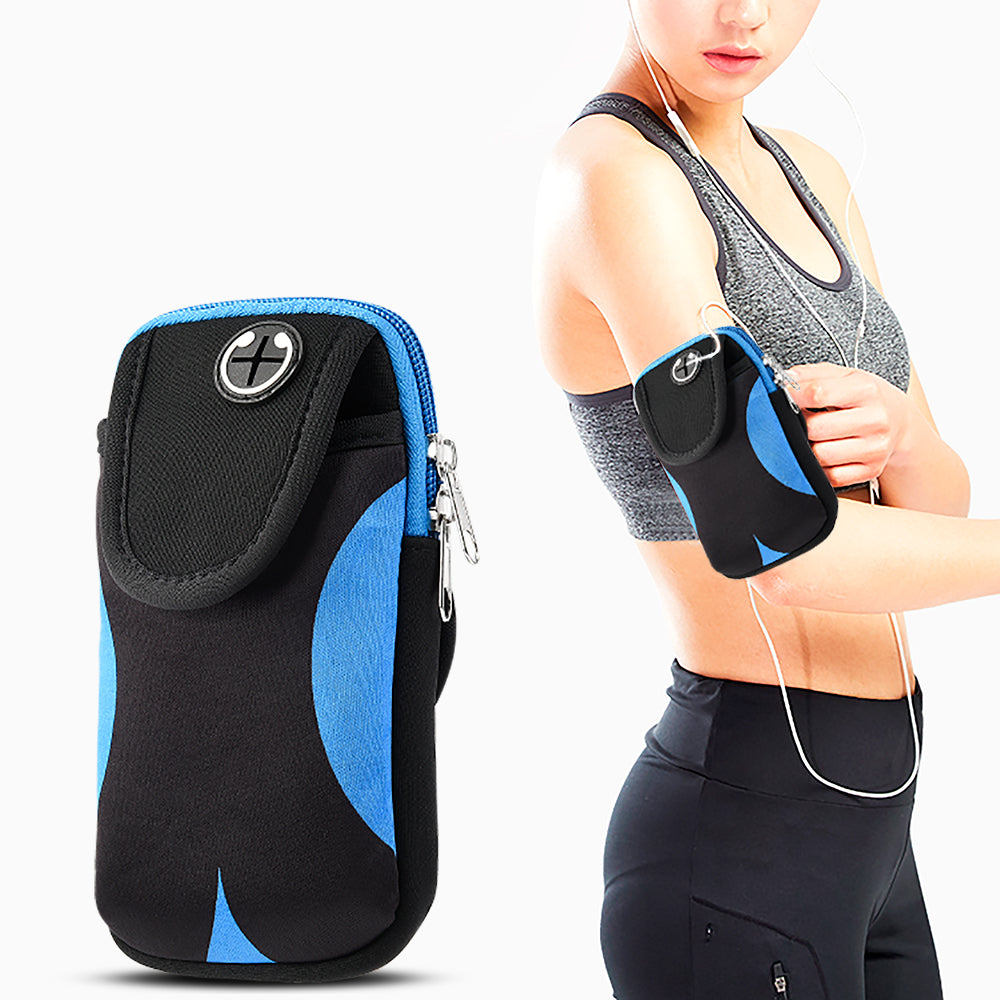 UNIVERSAL CONVENIENT POUCH WITH ADJUSTABLE SPORTS ARMBAND - BLACK & BLUE