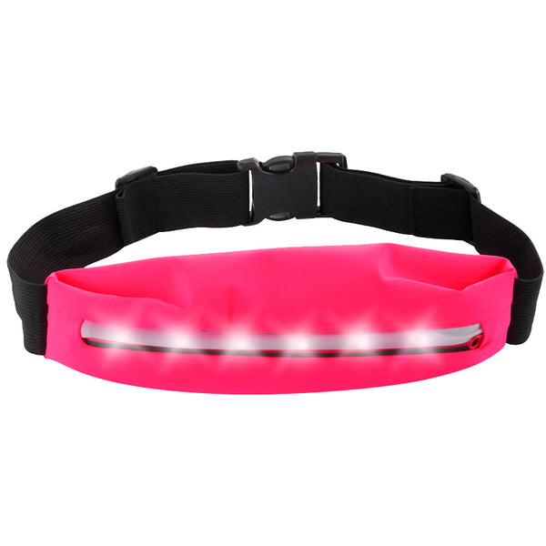 UNIVERSAL RUNNING BELT WITH 3 ADJUSTABLE BLINKING LEVELS LED STRIP + EARPHONE HOLE FOR IPHONE 6S PLUS /SAMSUNG GALAXY NOTE- HOT PINK
