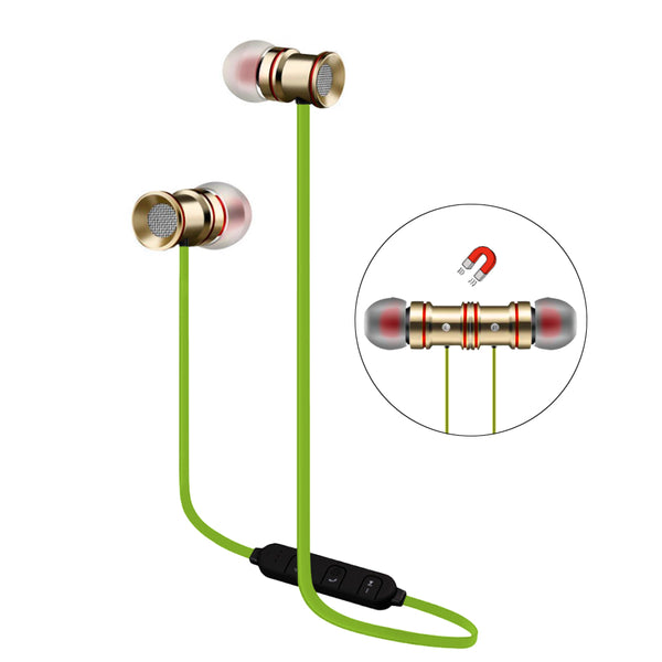 UNIVERSAL BLUETOOTH WIRELESS STEREO HEADSET WITH MAGNET ATTRACTION, SPORTS EARPHONES WITH MICROPHONE - GOLD WITH NEON GREEN CABLE