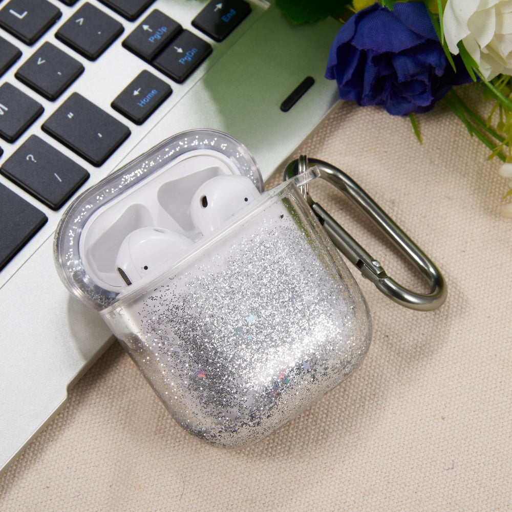 PREMIUM WATERFALL PROTECTIVE PC LIQUID SPARKING QUICKSAND CASE FOR AIRPODS - SILVER