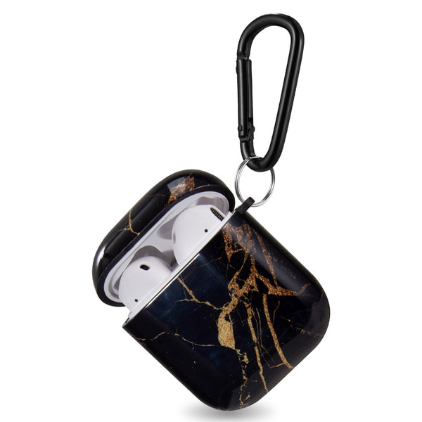 GLOSSY DESIGN LUXURY TPU SOFT CASE FOR AIRPODS WITH CARABINER - BLACK GOLD MARBLE