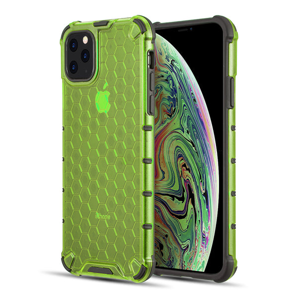 HONEYCOMB CRYSTAL CLEAR TINTED SHOCK ABSORPTION BUMPER SLIM FIT + HEAVY DUTY PROTECTIVE TPU CASE FOR IPHONE 11 PRO MAX - LIME GREEN
