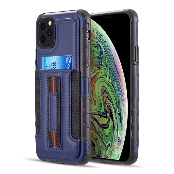 PROTECTIVE HYBRID MULTI LEATHER CARD CASE WITH ELASTIC RING HOLDER FOR IPHONE 11 PRO MAX - NAVY BLUE