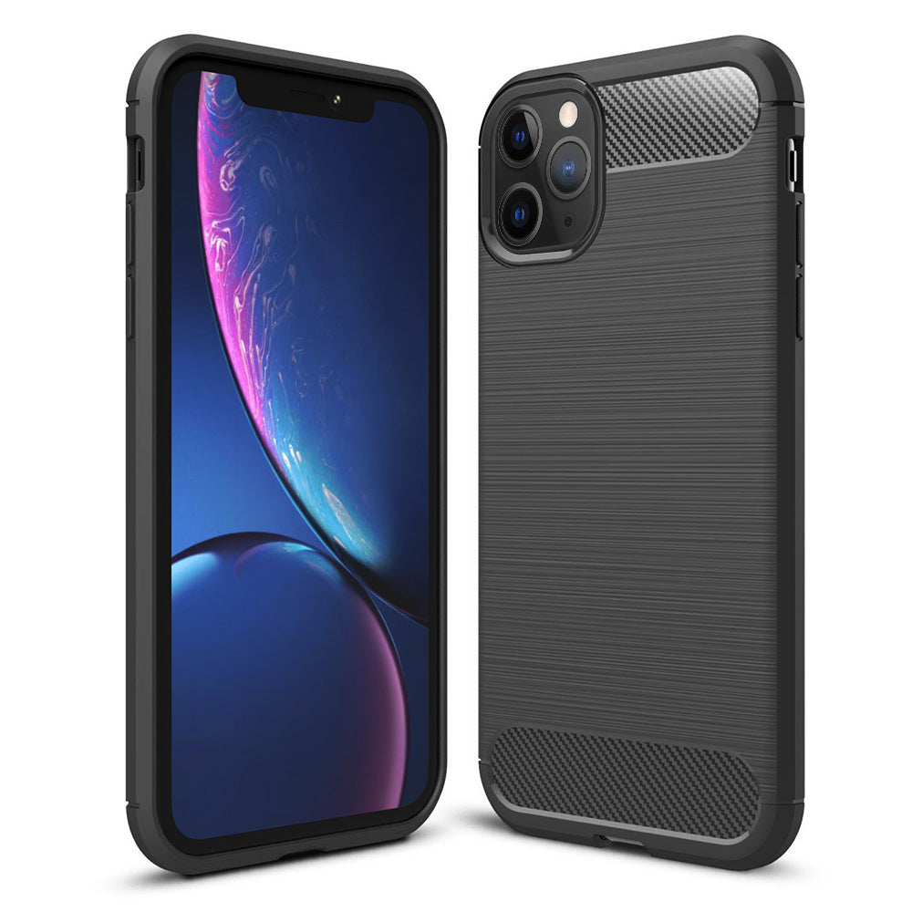 CARBON SLEEK TEXTURIZED TPU CASE WITH SILKEE TEXTURIZED FINISH FOR IPHONE 11 PRO - BLACK