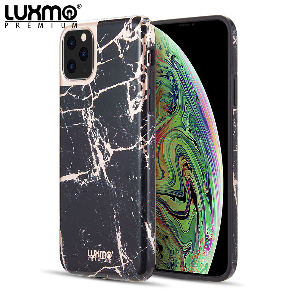 LUXMO PREMIUM MARBLICIOUS COLLECTION FOR IPHONE 11 PRO MATTED MARBLE TPU CASE - BLACK ROSE MARBLE