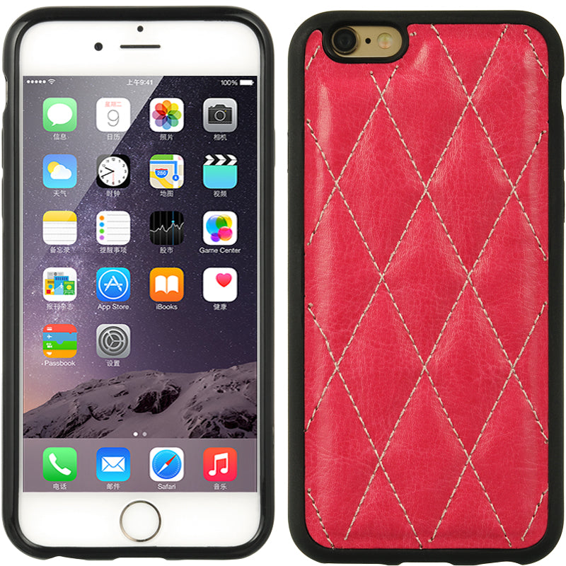 FOR IPHONE 6/6S CRYSTAL SKIN TUFTED LEATHER - HOT PINK