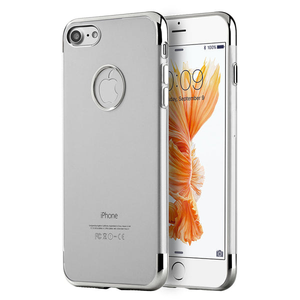 FOR IPHONE 8/ FOR IPHONE 7 SKYFALL TRANSPARENT TPU CASE W/ ELECTROPLATED UPPER & LOWER FRAME - SILVER