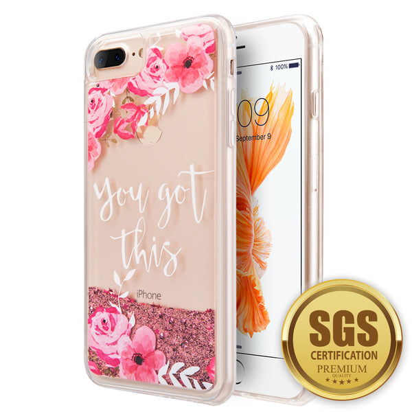FOR IPHONE 8 / 7 / 6S / 6 PLUS WATERFALL LIQUID SPARKLING QUICKSAND TPU CASE - PINK FLOWER