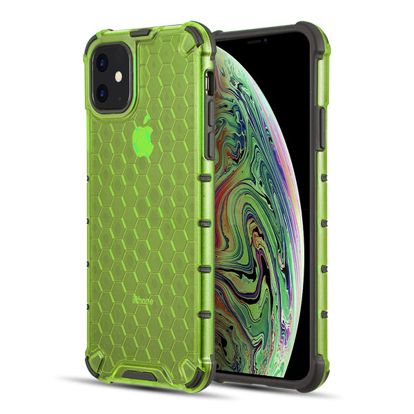 HONEYCOMB CRYSTAL CLEAR TINTED SHOCK ABSORPTION BUMPER SLIM FIT + HEAVY DUTY PROTECTIVE TPU CASE FOR IIPHONE11 - LIME - LIME GREEN
