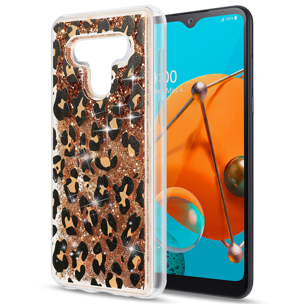 WATERFALL RING LIQUID SPARKLING QUICKSAND TPU CASE FOR LG K51- LEOPARD