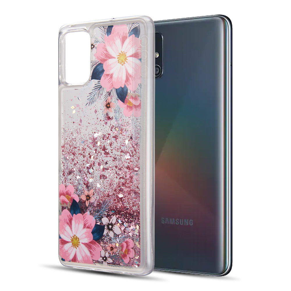 WATERFALL LIQUID SPARKLING QUICKSAND TPU CASE SGS CERTIFIED FOR SAMSUNG GALAXY A51 - FLORAL BLISS