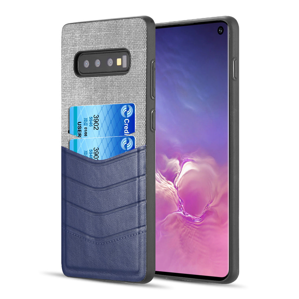 2 TONE TEXTURE COATED CANVAS TPU CASE WITH CARD SLOT FOR SAMSUNG GALAXY S10 - GREY / NAVY