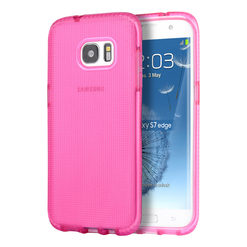 SAMSUNG GALAXY S7 EDGE CONTEMPO CUBE SERIES ANTI-SHOCK TPU CASE - PINK TINTED WITH PINK INNER BOARDER