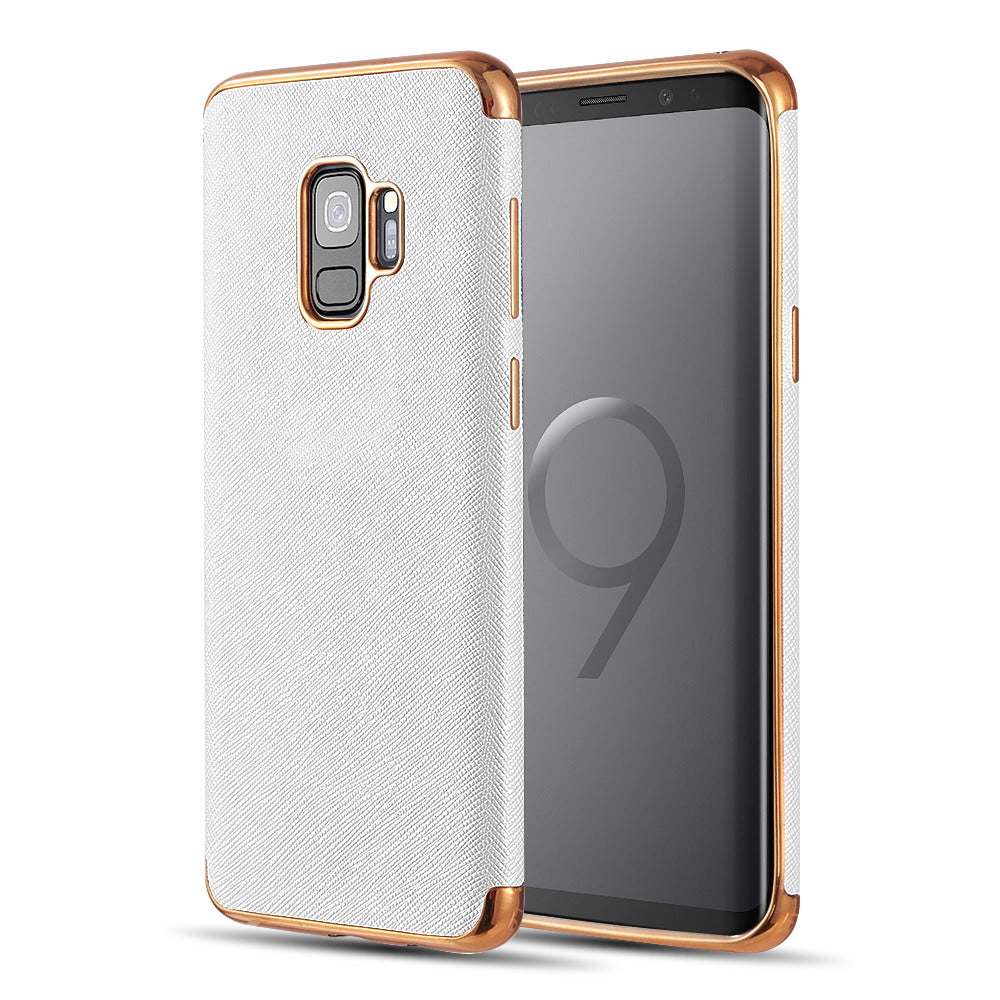SAMSUNG GALAXY S9 SAFFIANO LUXRY TPU CASE WITH ELECTROPLATED FRAME AND BUTTONS - WHITE