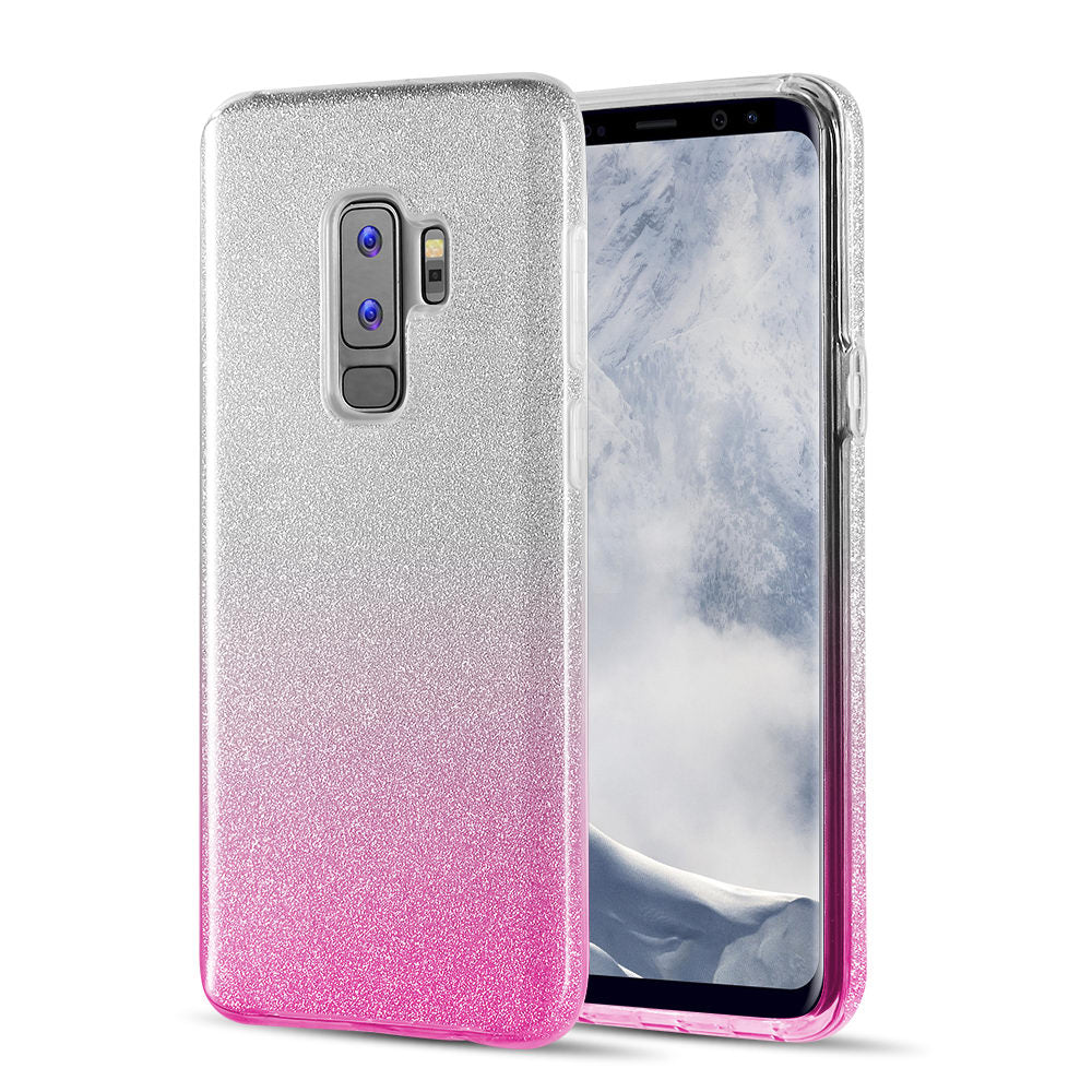 SAMSUNG GALAXY S9 PLUS STARRY DAZZLE LUXURY TPU COVER CASE - SILVER PINK