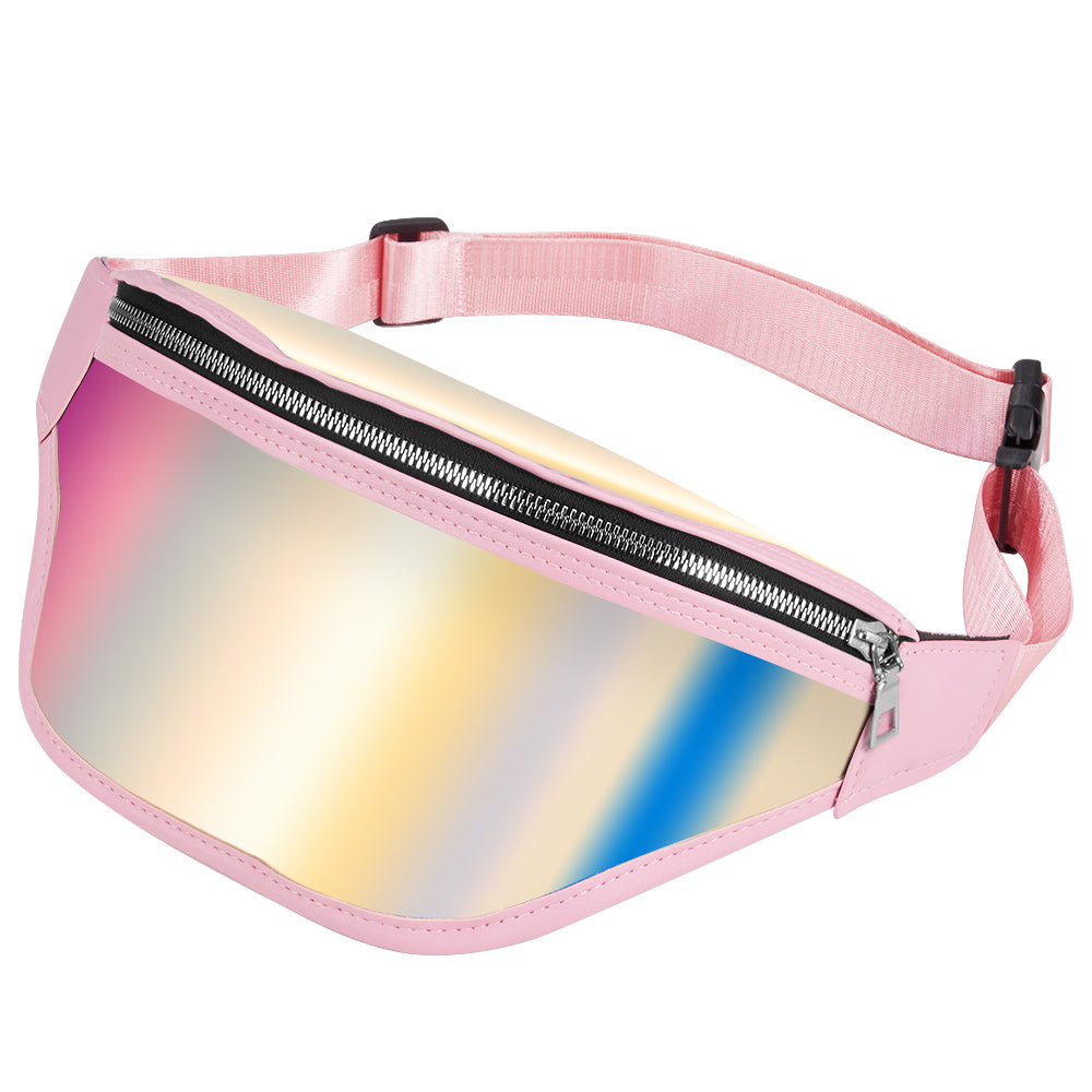 UNIVERSAL WOMEN'S HOLOGRAPHIC CROSSBODY CHEST BACKPACK AND WAIST BAG FOR FESTIVAL, RAVES, PARTY AND TRAVEL - PINK HOLOGRAPHIC