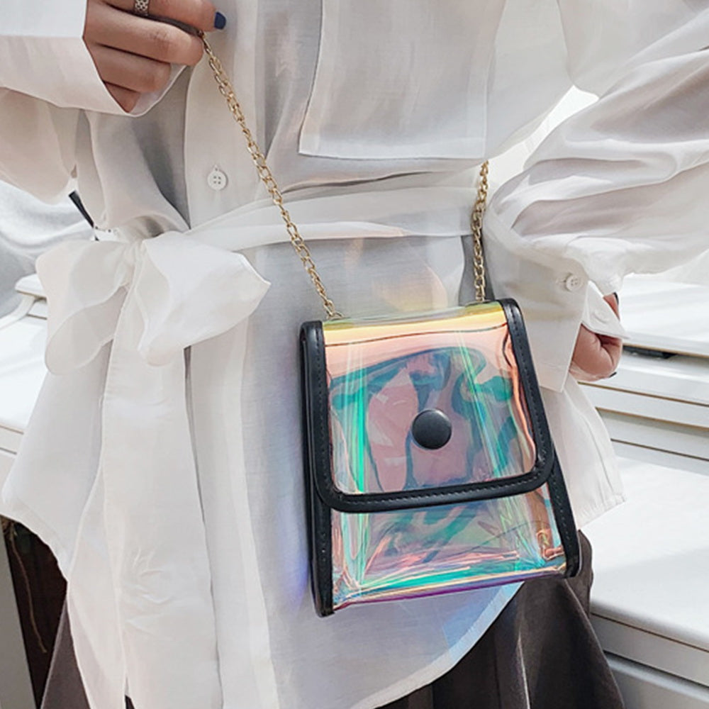UNIVERSAL FASHIONABLY CHIC HOLOGRAPHIC IRIDESCENT CLEAR MINI PURSE BAG WITH CROSSBODY GOLD-TONE CHAIN - BLACK + CLEAR