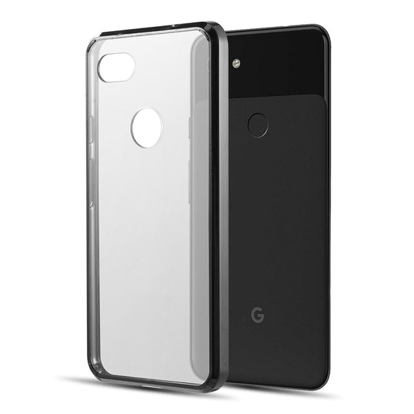 GOOGLE PIXEL 3A XL FUSION CANDY TPU WITH CLEAR ACRYLIC BACK -BLACK