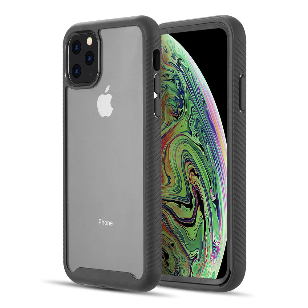 TOUGH FUSION-X CLEAR RUGGED TPU BUMPER WITH HARD PC CLEAR BACK SHOCKPROOF FOR IPHONE 11 PRO- BLACK