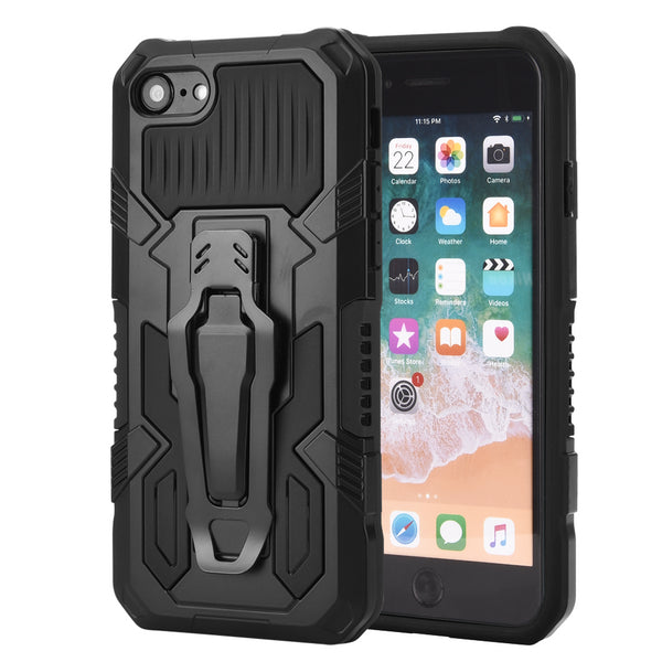 THE POCKET CLIPPER 3-IN-1 METAL CASE FOR IPHONE SE (2020) / 8/ 7 - BLACK
