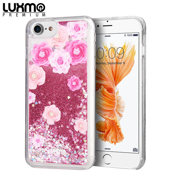 FOR IPHONE SE (2020) / 8 / 7 / 6 LUXMO WATERFALL FUSION LIQUID SPARKLING QUICKSAND CASE - LES PIVOINES