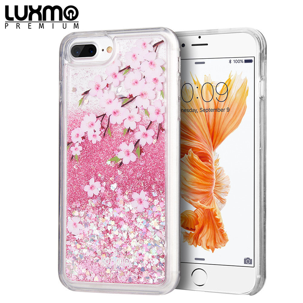 LUXMO PREMIUM WATERFALL SERIES FOR IPHONE 8 / 7 / 6 PLUS FUSION LIQUID SPARKLING QUICKSAND CASE - SAKURA