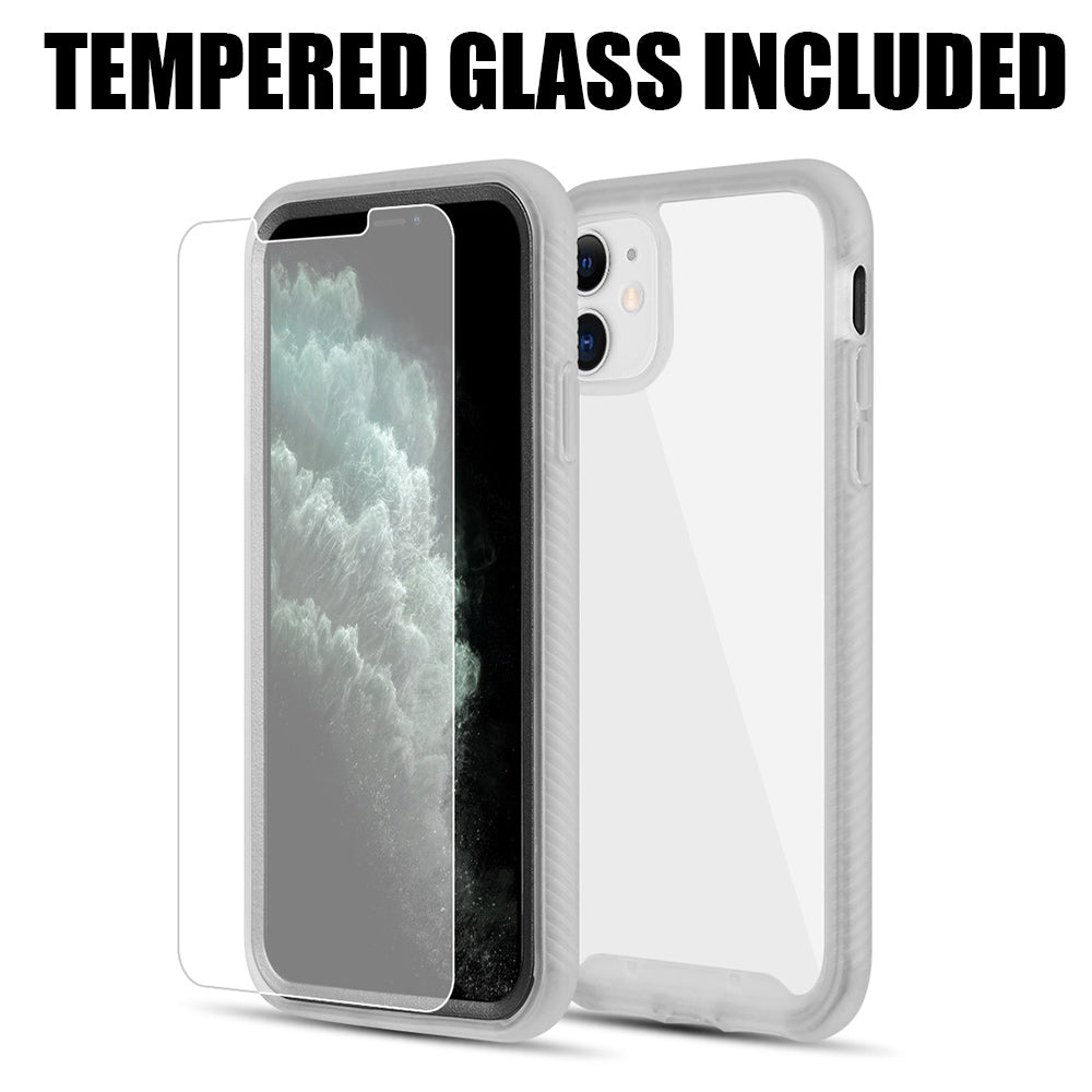 TOUGH FUSION-X CLEAR RUGGED TPU BUMPER WITH HARD PC CLEAR BACK SHOCKPROOF FOR IPHONE 11 (TEMPERED GLASS INCLUDED) - CLEAR + BLACK