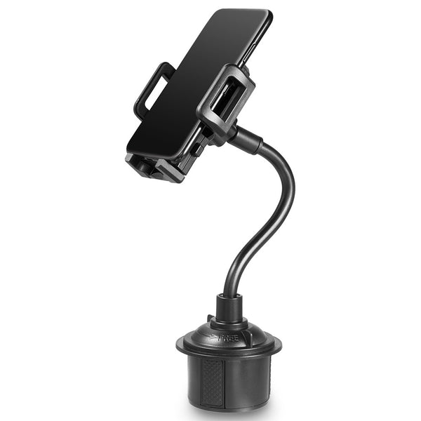 #51 UNIVERSAL CUP HOLDER CAR MOUNT WITH LONG ADJUSTABLE ARM AND ROTATABLE CRADLE WITH QUICK RELEASE BUTTON - BLACK