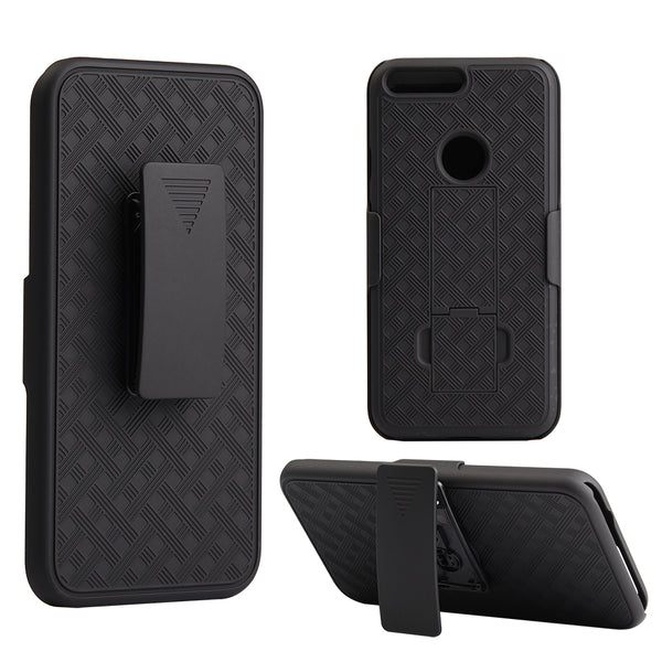 GOOGLE PIXEL XL SNAP ON CASE SKEW PC WITH HOLSTER COMBO BLAC