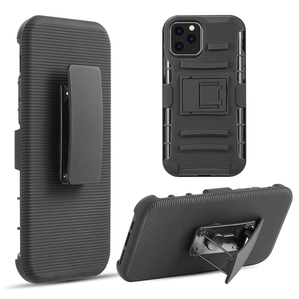 HYBRID CASE BLACK SKIN + BLACK PC WITH H STYLE STAND FOR IPHONE 11 PRO- BLACK