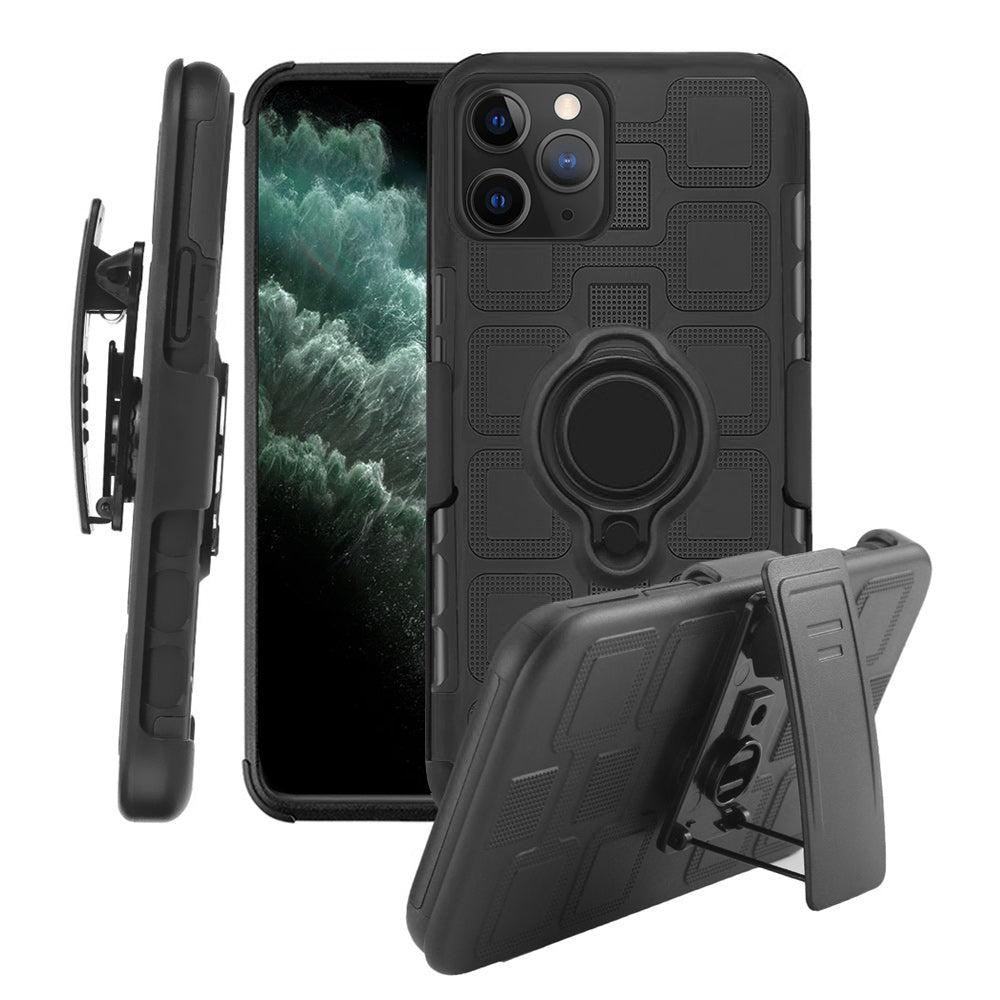 CUBE RUGGED BELT CLIP HOLSTER COMBO CASE WITH MAGNETIC ROTATABLE RING STAND FOR IPHONE 11 PRO - BLACK