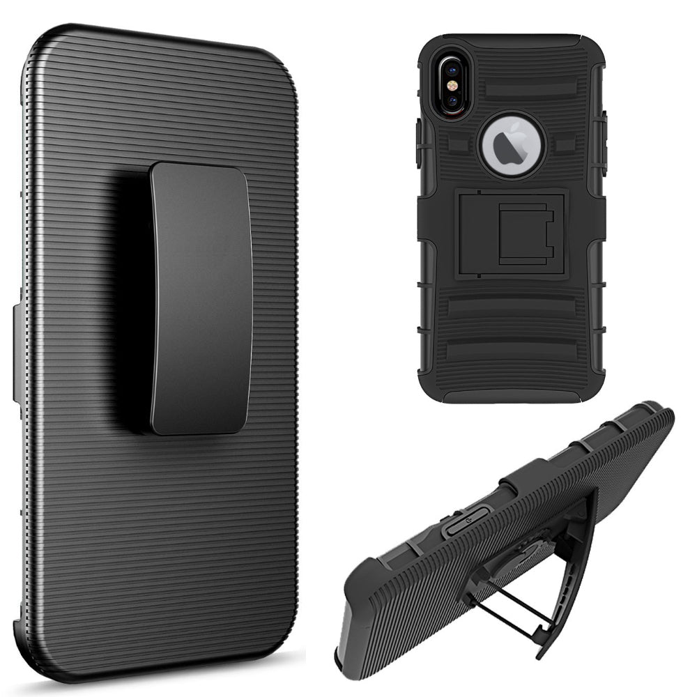 FOR IPHONE XS / X HYBRID CASE BLACK SKIN + BLACK PC WITH H S