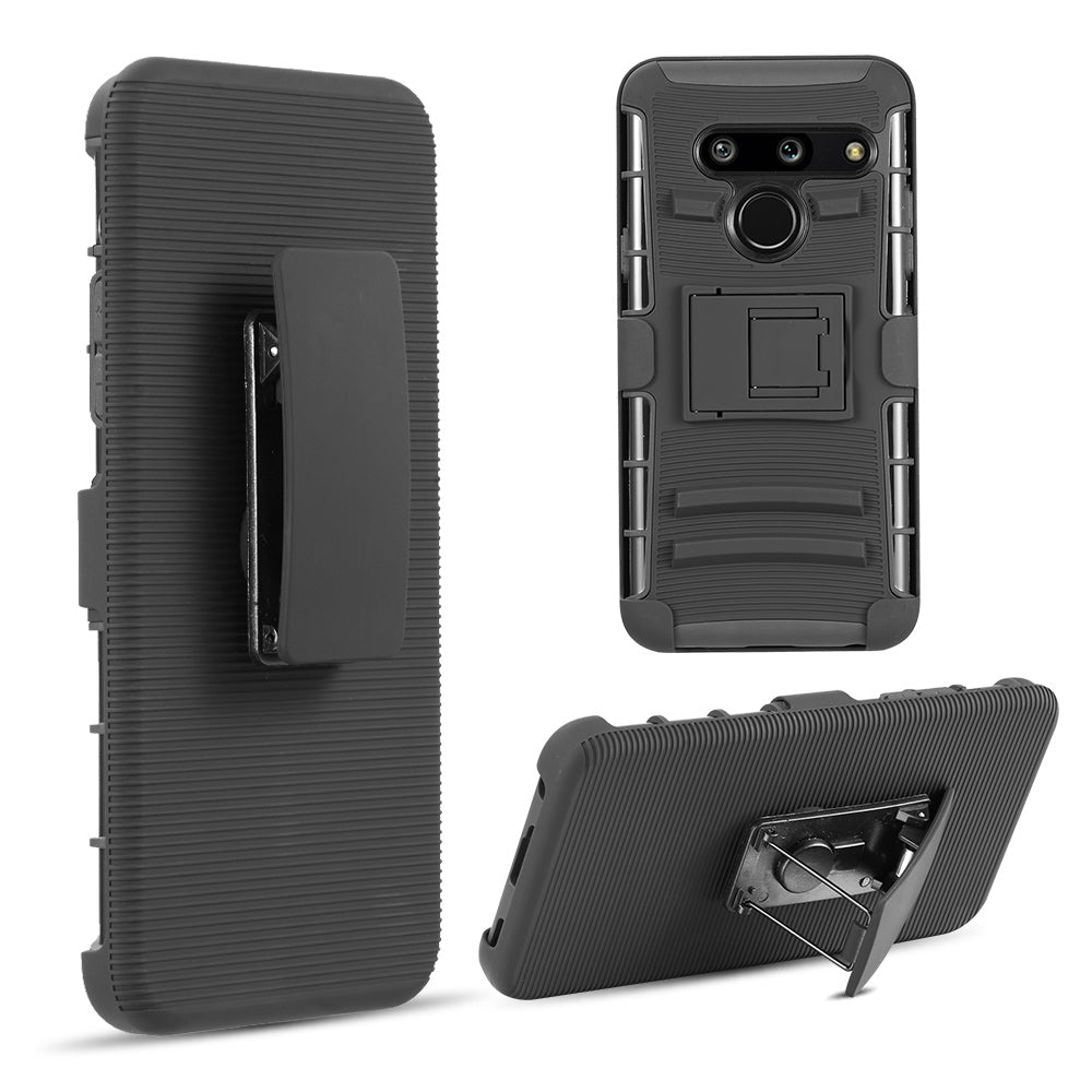 LG G8 ThinQ(T-Mobile) HYBRID CASE BLACK SKIN+BLACK PC WITH H STYLE STAND