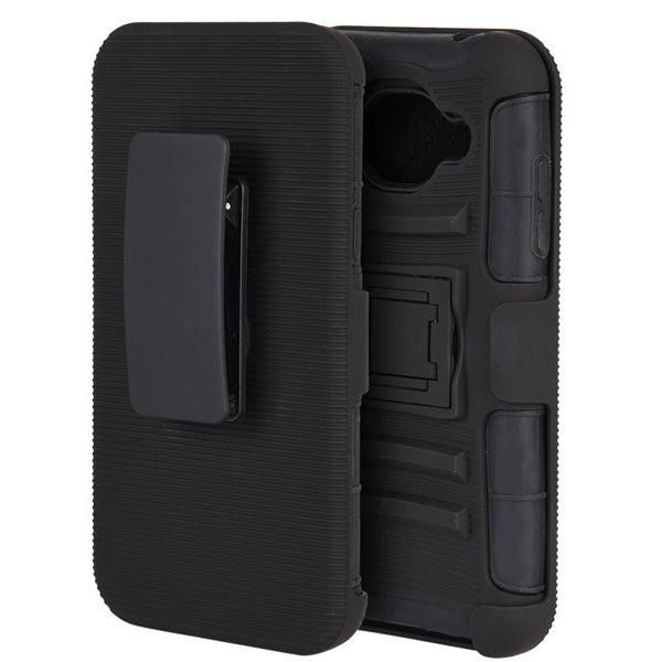 SAMSUNG GALAXY J5 HYBRID CASE BLACK SKIN + BLACK PC WITH H STYLE STAND