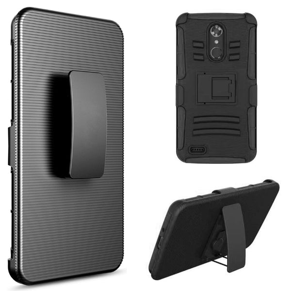 ZTE MAX XL / N9560 HYBRID CASE BLACK SKIN + BLACK PC WITH H STYLE STAND