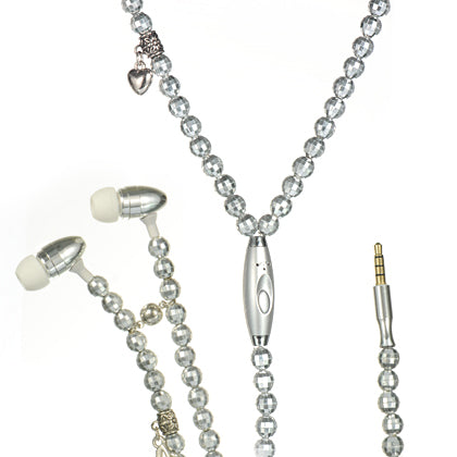 UNIVERSAL NECKLACE HANDSFREE 3.5 MM W/ MIC SILVER PEARL