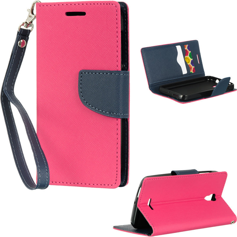 ALCATEL ONE TOUCH POP ASTRO DIARY WALLET HOT PINK + NAVY BLU