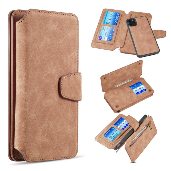 LUXURY COACH 2 SERIES FLIP WALLET WITH DETACHABLE CASE FOR IPHONE 11 PRO MAX - BROWN