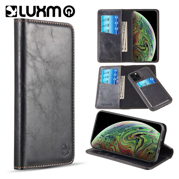 LUXURY GENTLEMAN 2ND GENERATION DETACHABLE MAGNETIC FLIP LEATHER WALLET CASE W/ TRIO CARD SLOTS FOR IPHONE11 PRO MAX - BLACK